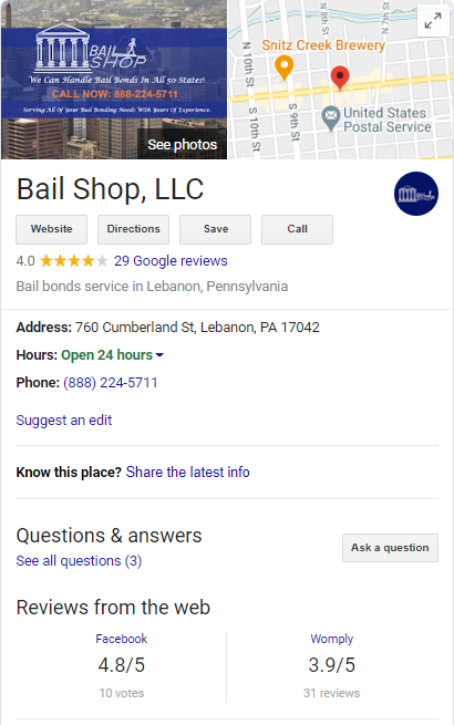 Bail Bond GMB Listing Screenshot