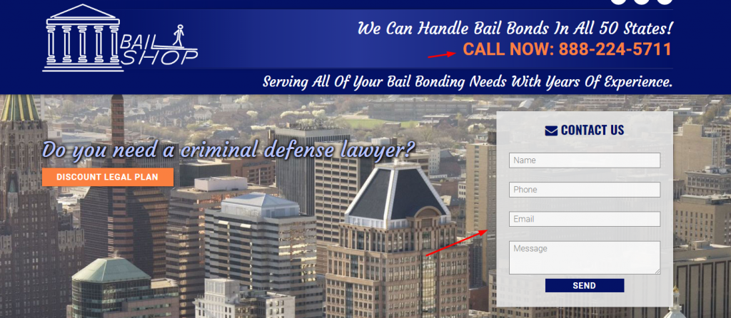 Bail Bond Website Screenshot