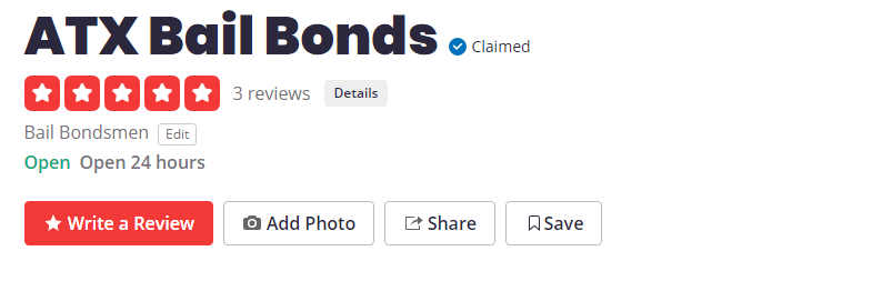 Bail Bond Yelp NAP Listing Screenshot
