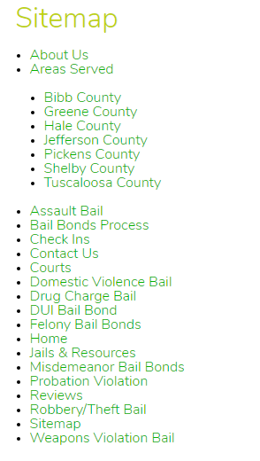 Bail Website URL Structure Screenshot