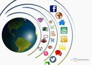 an illustration of social media icons circling the globe